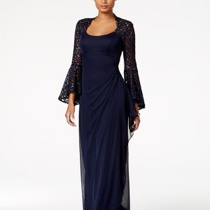 X by Xscape Lace Bell-Sleeve Gown NWOT